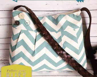 Button Bag in Blue Chevron & Leather Belt Strap