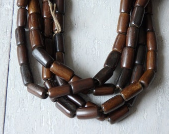 """Bone beads in shades of brown, 24"""" strand of cow bone beads in rich shades of brown, ethnic jewelry supplies, Indian beads, approx. 50 beads"""