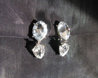 Yves Saint Laurent YSL Jewelry, Earrings Large Rhinestone Clip On Earrings, Wedding Something Old