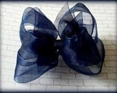 Navy Hair Bow...Navy Organza Bow...Organza Hair Bow...Uniform Hair Bow...Uniform Bow...Back to School Bow.
