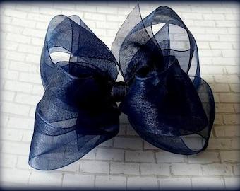 Navy Hair Bow...Navy Organza Bow...Organza Hair Bow...Uniform Hair Bow...Uniform Bow...Back to School Bow.