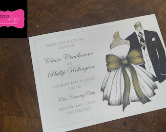 INVITATION - Suit and Dress for Rehearsal Dinner, Engagement Party, Couples shower and more! All wording, fonts, and font colors Customized
