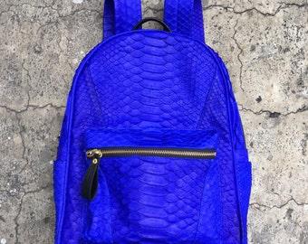 NEON BACKPACK - Neon Blue Python Leather Snakeskin Backpack Bag