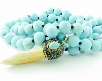 Turquoise Tusk Boho Necklace