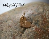 Small gold heart initial - gold filled hand stamped initial charm - 8 x 10mm