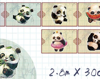 1 Roll of Limited Edition Washi Tape: Fun Panda with Bamboo