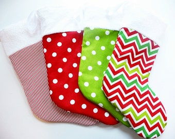 Soft Plush Holiday Christmas Stocking - Generously Sized with Furry Cuff - Choose Chevron, Dot or Candy Cane Stripe