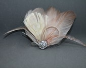 Blush Peacock Feather Fascinator - Pink Feather Fascinator, Champagne Hair Piece, Wedding Hair Clip, Champagne Fascinator