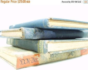 On Sale Price Vintage German Books. Set of Four. Shades of Blue. Wedding Prop. Library Starter Set. Home Decor.
