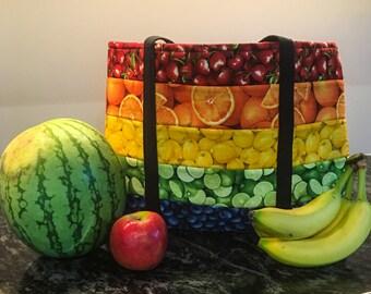 Farmer's Market Tote Bag in Fruit Fabrics