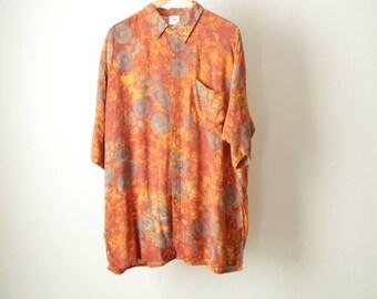 BAROQUE 90s versace style BATIK orange & grey shirt blouse