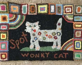 Wonky Cat Primitive Hooked Rug