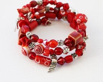 Boho Christian/Catholic Stacked Bracelet--Inspirational--Cuff--Stacked--Hippie--Gypsy--Cross--Repurposed--Beaded--Multi-Strand--Red--Vintage