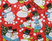 Vintage Kaycrest CHRISTMAS Gift Wrap - Wrapping Paper - Adorable SNOWMEN - with coordinating gift tag - 1960s