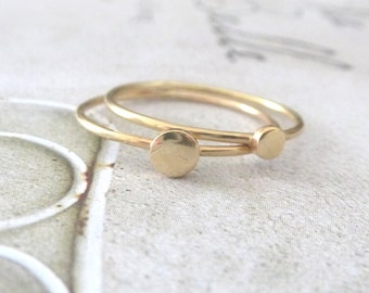 9ct yellow gold stacking rings - set of 2 - Orbit Collection