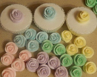 24 Pastel Royal Icing Roses Edible For Cakes, Weddings , Cupcakes
