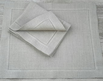 Linen Placemats SET - hemstitch table mats - hemstitch linen mats - linen table mats - natural table mats - natural table linen