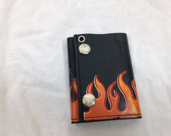 90s flame leather wallet