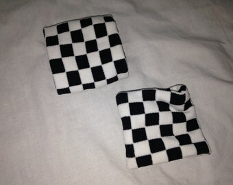 black and white checkered sweatbands