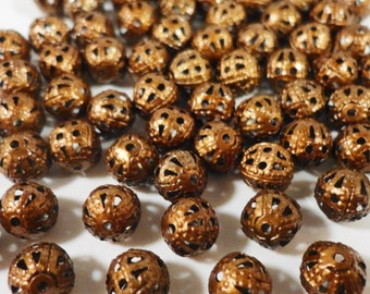 50pcs 6mm Antique Copper Metal Beads, 6mm Round Filigree Beads, Lightweight Aluminum Beads for Jewelry Making, Loose Beads, Spacer Beads