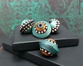 Handmade Polymer Bicone Set - Moroccan Style Turquoise Black Bronze Mocha Polka Dot Bead Set - 13mm - Pkg. 4