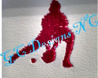 Small Baseball Fielder Embroidery Design