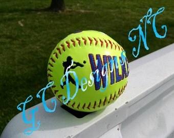 Small Softball Hitter Embroidery Design
