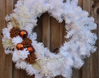 NEW/SALE/Clearance/Winter Wreath/18 inch Wreath/White/Snow/December/January/February