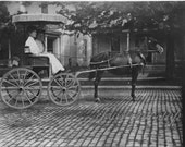 Victorian snapshot 4 by 5 lady on horse and buggy original