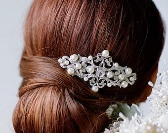 Bridal Hair Comb, Swarovski Crystal Comb,Pearl Wedding Hair Comb,Headpiece,Diamante Victorian Bridal Comb,l Victorian Decorative Comb- HAZEL