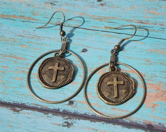 Coin Earrings, Antique Bronze, Cross, Bohemian