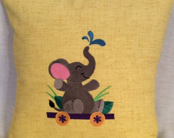 Elephant Riding on a Train Pillow Cover  - Child's Room, Nursery, Playroom -  Handmade