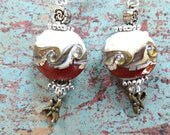 Dragonfly Earrings of Red & White Glass Foil Lamp Work