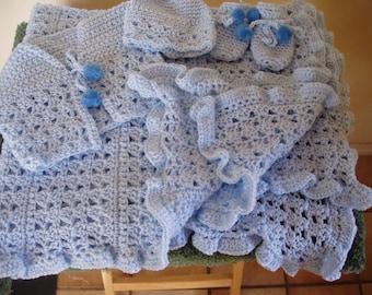 boys all crochet baby blanket set