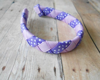 Purple polka dot and lavender woven headband for American Girl and 18 inch dolls