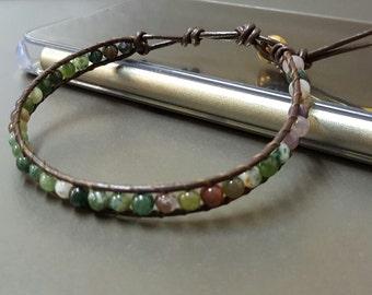 Jasper  Brown Leather Bracelet