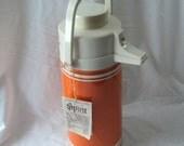 Mid Century Modern Orange Spirit Hot Cold Retro Drink Holder Vintage Picnic ware Kitsch NEW with TAG 1970's