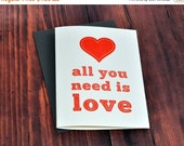 LETTERPRESS SALE 50% OFF Letterpress card , all you need is love , valentine , love card , quote card , sewn card , red heart , beatles