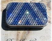Silver Metal Preciosa Viva-12 Rhinestone Crystal Bling Sapphire Blue AB Crystal Clear Chevron Mint Tin Box