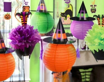 Witch Pom poms, Halloween party, children's Halloween party decorations, Halloween birthday, haunted house, witches feet, fall decor, goth.