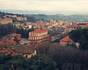 Italy Photography, Italy Art, Landscape Photography, Perugia Italy, Italian Landscape, Rustic Art, Square Art Print, Orange Green