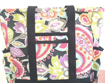 Work Tote, Travel Tote, Large Tote Bag with Pockets, Black Kitchen Sink Tote, Professional Tote, Zippered Teacher Tote, Nurse Tote, Baby Bag