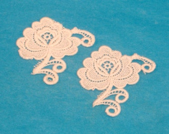 Pair of Vintage Cream Rose Lacy Embroidered Embellishment - 2.75 x 2 Inch Rose Floral Doily Embellishment - Destash