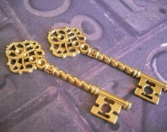 Bulk Skeleton Keys Wedding Keys Wholesale Keys Antiqued Gold Key Pendants 68mm-10 pieces SAMPLE
