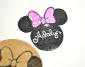 Minnie Custom Name Rubber Stamp with accent bow stamp, Customized handmade