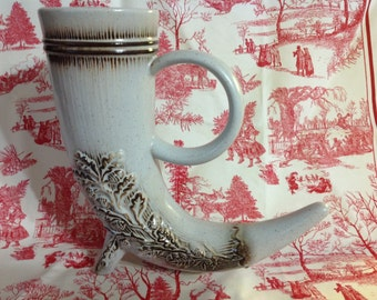 Vintage Ceramic Horn Beer Stein Or Vase Fall Accents