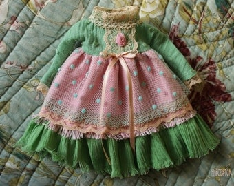 "Ooak Blythe dress by Iriscustom "" Pink Granny """