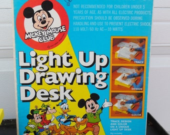 Vintage Disney's Mickey Mouse Club Light Up Drawing Desk in Original Box Lakeside 5340, Walt Disney Productions, 1970's