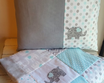 Elephant Baby Quilt and Matching Pillow, Gray and Aqua Nursery Bedding, Turquoise and Gray Crib Quilt and Elephant Pillow