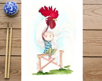 ART PRINTS // rooster child // illustration watercolor